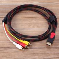 cable hdmi rca hembra al por mayor-VBESTLIFE HDMI macho a 3 RCA Cable de conversión de componentes de audio y video de video 1.5m 5 pies Nylon 3-RCA Cable AV Cable Adaptador para HDTV