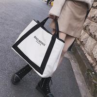 grandes bolsas de lona con cremallera al por mayor-Nueva moda bolsas de asas bolso elegante lienzo simple Hit Color Big Bag alta calidad gran capacidad solo hombro Diagonal marea