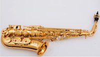 Wholesale professional manufacturing online - Gold Nickel Plated Delicate Carved Alto Saxophone Professional Instrument Manufacturing
