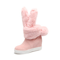 Wholesale lovely leather black boots for sale - pgyH9Free shopping thick bottom lovely rabbit ears skin and hair warmth and comfort medium tube boots