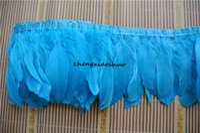 zanaat tüyleri tüyler toptan satış-Ücretsiz kargo turkuaz kaz tüyü saçak 10 metre trim için zanaat düğün dikiş elbise özel tedarik
