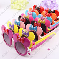 Wholesale ear eye - 2018 New Kids Sunglasses Lovely Bowtie Children Sun Glasses Flip Up Mouse Ear Shape Double Lenses 8 Colors