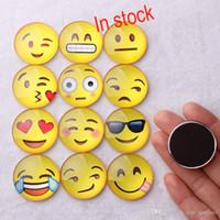 ingrosso sorriso magneti-2017 Magnete Emoji Cupola di Vetro Rotondo Sorriso Faccia Espressioni Fridge Magnet Message Holder Frigorifero Autoadesivo DHL Libero-XL16 G167