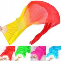 dans kostümü yapmak toptan satış-Yeni 1.8 m El Yapımı Renkli Belly Dance Kadınlar Kostüm Bambu Uzun Ipek Hayranları Peçe Ipek Fan