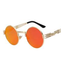 steampunk aynalı bardaklar toptan satış-Erkekler ve Kadınlar için yüksek Kaliteli Güneş Gözlüğü Steampunk Metal WrapEyeglasses Yuvarlak Shades Marka Tasarımcısı Güneş gözlükleri Ayna UV400
