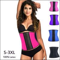 Wholesale latex bodysuit women - 5pcs Lot Waist Trainer Corsets Corset 100 %Latex Corset Sexy Women Latex Waist Lifter Slimming Shapewear Bodysuit