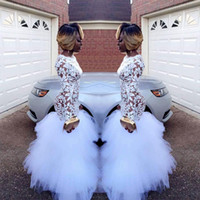 Wholesale Plus Size Black Evening Gowns - 2018 African White Mermaid Lace Prom Dresses for Black Girls Long Sleeves Ruffles Tulle Floor Length Plus Size Evening Prom Gowns Vestidos