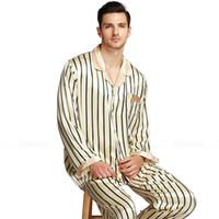 ingrosso pjs indumenti da notte-Pigiama in raso di seta da uomo a righe Set pigiama PJS Sleepwear Loungewear S ~ 4XL Striped __Big e High Hotsale di alta qualità