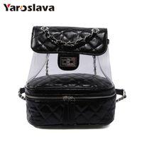 sevimli sırt çantaları kadınlar toptan satış-Gençler Için 2018 Yeni Yaz Şeffaf Kadın Sırt Çantaları Femal Geri Paketi Sevimli Seyahat Çantaları Moda Tasarımcısı çanta LL703