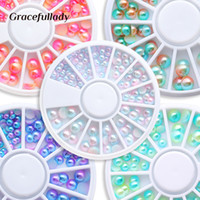 nagelkunst goldrosen großhandel-Mixed Size 1 Box Farbverlauf Nail Pearl Strass Rad Solid Imitation Pearl für 3D Nail Art Maniküre Dekorationen