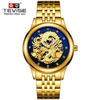 homens relógios de luxo china venda por atacado-Homens Relógios De Luxo Vestido Homens Relógio de Ouro 3D China Dragão Esqueleto Strass relógios de pulso Mecânicos TEVISE Marca Relógio caixa de Presente
