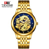 Wholesale men luxury watches china resale online - Men Watches Luxury Dress Gold Watch Men D China Dragon Skeleton Rhinestones Mechanical wristwatches TEVISE Brand Clock Gift box