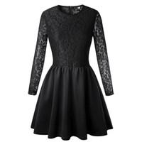 vestidos de vestido de escritório venda por atacado-Laço preto vestido branco 2018 primavera verão novas mulheres manga longa vestido de baile vermelho branco vestido de escritório senhora ol vestidos zíper de volta