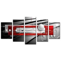 Wholesale black red modern abstract - Huge Modern Symmetry Black and Red Canvas Print Wall Art Abstract Geometric Painting 5 Pieces Decorations Picture Ready to Hang Home