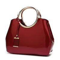 Wholesale pure white handbags - 2018 spring new fashion bright patent leather handbags,Pure color and Elegant handbag with European and American style.T29
