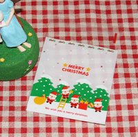Wholesale christmas cake package resale online - Christmas Gift Bag Cookie Packaging Self adhesive Plastic Bags Merry Christmas For Biscuits Birthday Candy Cake Package