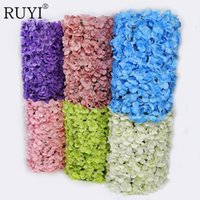 Wholesale Red Wall Tiles - Artificial flower Carpet Tile Hydrangea Wedding Studio Flower Wall Background Kitchen Window Decoration