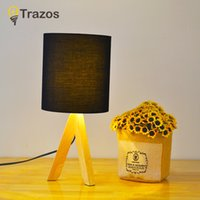 Wholesale white linen table cloth - TRAZOS Wooden Table Lamp With Linen lampshade Nordic Bedroom Bedside Table Lamp With E27 Bulb Festive Bedside Home Lighting
