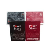 Wholesale poker playing cards deck - Texas Poker Stars Playing Games Plastic Deck Playing Cards Black Red Plastic Poker Board Games OOA4510