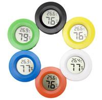 incorporação acrílica venda por atacado-Circular incorporado eletrônico higrômetro pet medidor de umidade caixa de acrílico caixa de escalada termômetro