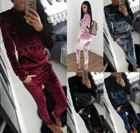 Wholesale new style women s tracksuit - New Trends Eur US Style Women Velour Velvet Sport Wear Casual Tracksuits Women Solid Sport Suit Costume 2pc Set