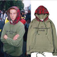Wholesale fashion scotland - 2018 Fashion Brand justin bieber Simple Scotland mens coat Plaid Blue Patchwork hoodies sup skateboard hip hop outdoor sport Lovers shirt