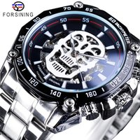 наручные часы оптовых-Forsining Silver Stainless Steel Men Luminous Skull Design Automatic Watches Top  Mechanical Skeleton Wrist Watches