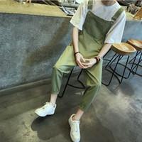 pantalones de hip hop verde militar al por mayor-2017 mens hip hop moda ejército verde babero overoles pantalones de carga de algodón fresco traje de diseño para hombre llanura pantalones 041612