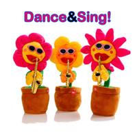 divertidos cantando juguetes de navidad al por mayor-Bailando Cantando Felpa Plantas Juguetes Para Niños Divertido Girasol Saxofón Juguetes Eléctricos Niños Regalo de Navidad Relleno