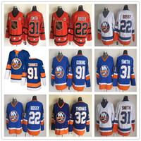 Wholesale John Tavares Jersey - New York Islanders 22 Mike Bossy 31 Billy Smith 32 Steve Thomas 91 John Tavares Goring White Blue Home Away Throwback Ice Hockey Jerseys