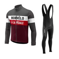 Wholesale Morvelo men Autumn Long Sleeve Cycling Jerseys bib pants Set Breathable Thin Ropa Ciclismo Riding Clothes Cycle Suit Wear
