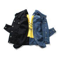casaco amarelo dos homens venda por atacado-Personalidade Amarelo nas costas Jaqueta Jeans homens de alta qualidade da motocicleta Jeans Casacos de moda Slim fit casual Mens Vintage jean Coats outdoo
