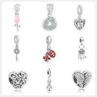 Wholesale pandora key heart for sale - Group buy newest MOQ european silver regal heart love key wing airplane pink rose diy bead Fit Pandora Charm Bracelet F004