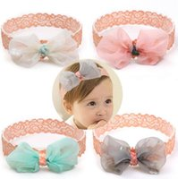 Wholesale Elegant Hair Bows - 4 color baby Hair Accessories organza bow design lace headband for baby kids elegant kids girl hair headband