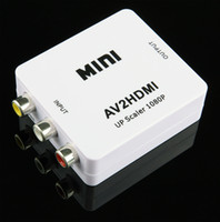 paquete de hdmi al por mayor-1080P Mini AV a HDMI Converter AV2HDMI RCA Señales de audio y video compuestas a señales HDMI para TV Monitor 20pcs / lot