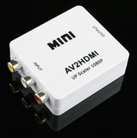 hdmi composite wandler adapter groihandel-1080P Mini AV zu HDMI Konverter AV2HDMI RCA Composite-Video-Audio-Signale zu HDMI-Signale für TV-Monitor 20pcs / lot