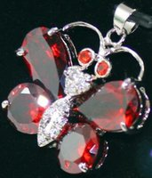 Wholesale red crystal butterfly pendant for sale - Group buy nice charming kgp red Crystal Butterfly Pendant Necklace