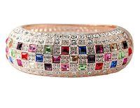 pulseiras de ouro para namorada venda por atacado-Luxo Mona Lisa CZ Handmade Pulseira Pulseira Trendy Rose Gold Cor Colorido Charme Amizade Pulseira para As Mulheres Noiva Namorada Jóias