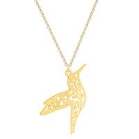 18k gold vogel halskette großhandel-10pcs / lot origami tier hummingbird halskette männer schmuck fliegen vogel lange halskette vogel liebhaber geschenke für frauen aussage halskette