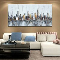 Wholesale oil paint abstract buildings resale online - Large Home Decor Wall Art Pictures Hand Painted Abstract Landscape Oil Paintings on Canvas Handmade Knife City Building Painting