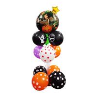cadılar bayramı folyosu balonları toptan satış-Promosyon Kabak Kız Folyo Balonlar set Cadılar Bayramı Partisi Balonlar Için Sütun set 10 inç Yuvarlak Baskılı Kafatası Lateks Dalga Balonlar