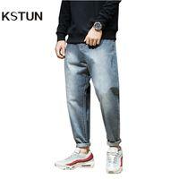 wholesale Men Harem Pants brand 2018 Jeans Casual Trousers Men Joggers  Washed Tapered Baggy Loose fit Men s Clothing Pure Retro Blue 63d1e04d6