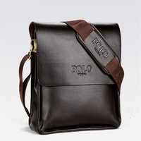 Wholesale mens black briefcase - Mens Briefcase Business Bags Casual Business PU Leather Mens Messenger Bag Vintage Men's Crossbody Bag Bolsas Black Brown Shoulder Bags