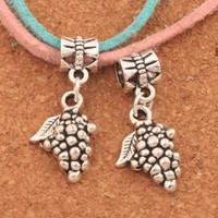 Wholesale fruit charm bracelet - 100pcs lot Grape Fruit Big Hole Beads 28.7x12.8mm Antique Silver Dangle Fit European Charm Bracelets Jewelry DIY B363