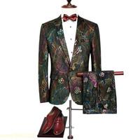 ingrosso nuovi modelli di blazer-Abiti da sposa con motivo paillettes da uomo colorati con paillettes slim aderenti giacca e pantaloni nuova moda di lusso per la festa di nozze