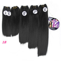 Wholesale synthetic afro kinky weave for sale - Kinky Straight inch Natural Black Synthetic Sew In Hair Extensions Yaki Straight Hair Weave Bundles Afro Double Weft Pack