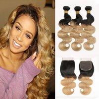sarışın brazilian dalga saç paketleri toptan satış-Ombre Brezilyalı Saç Örgü Demetleri ile Kapatma 1B / 27 Bal Sarışın 2 Ton Brezilyalı Vücut Dalga Virgin İnsan Saç Kapatma ile 3 Demetleri