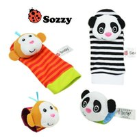 Wholesale monkey baby rattle - 6 Styles 2pcs set Baby Rattle Toys Zebra Plush Wrist Toys Kids Cute Foot Socks Cartoon Animal Wristband Baby Birthday Gifts CCA10118 5set