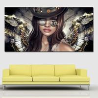 ingrosso ragazze sexy dipingono le stampe-1 pannello HD Steampunk Angeli con occhiali Canvas Painting Sexy Girl Wall Art Poster E Stampe Immagini a parete per soggiorno No Frame