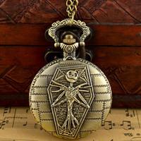 bronz cep saatleri toptan satış-Antik Bronz Kabus Önce Noel Kuvars Pocket Watch Klasik Erkekler Kadınlar Kolye Kolye Cadılar Bayramı hediye